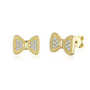 Solid Real Diamond Bow Style Earrings Yellow Gold